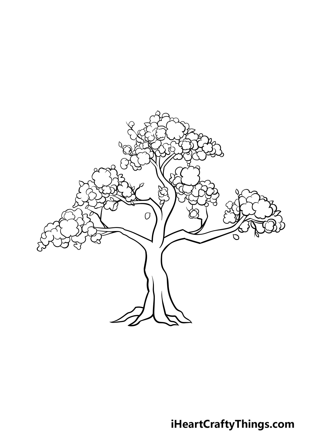 drawing a cherry blossom tree step 5