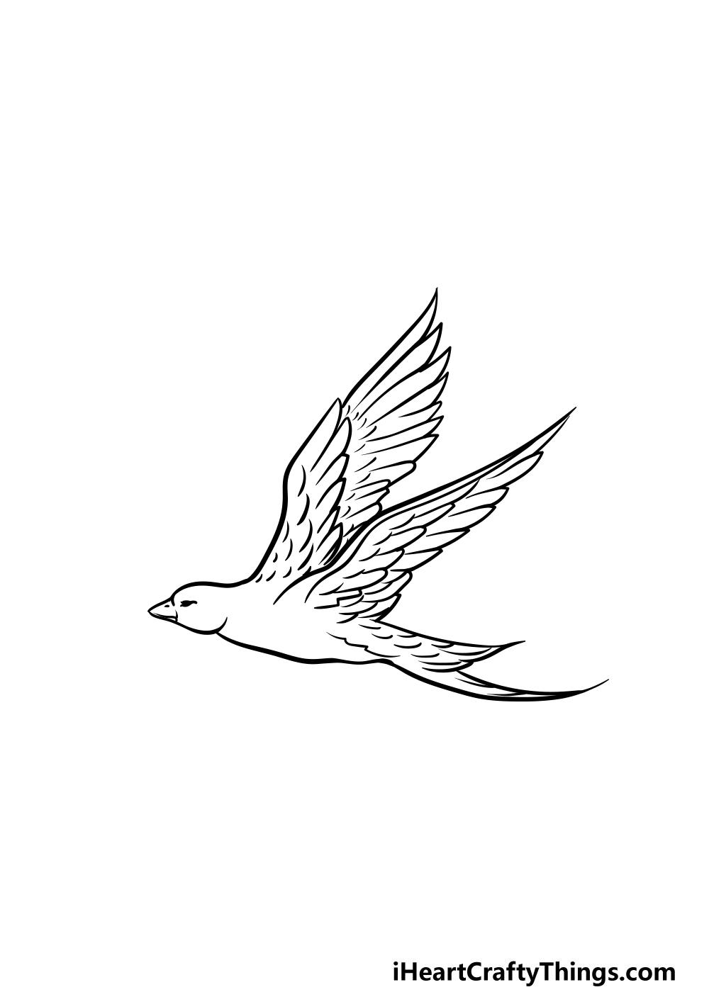 dibujando un pájaro volador paso 5