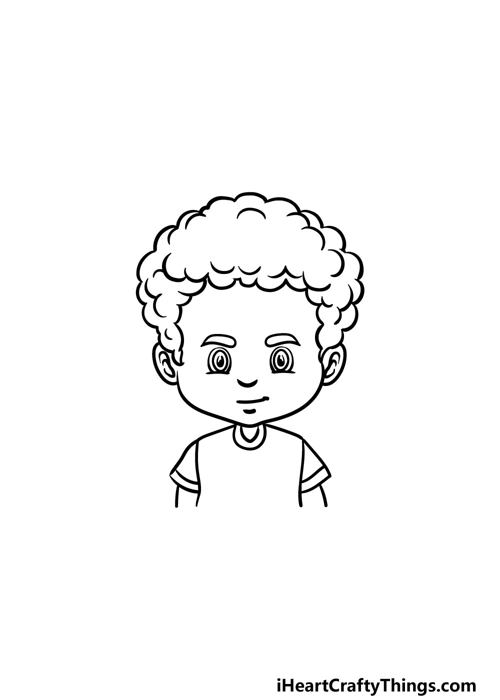 drawing curly male hair step 5