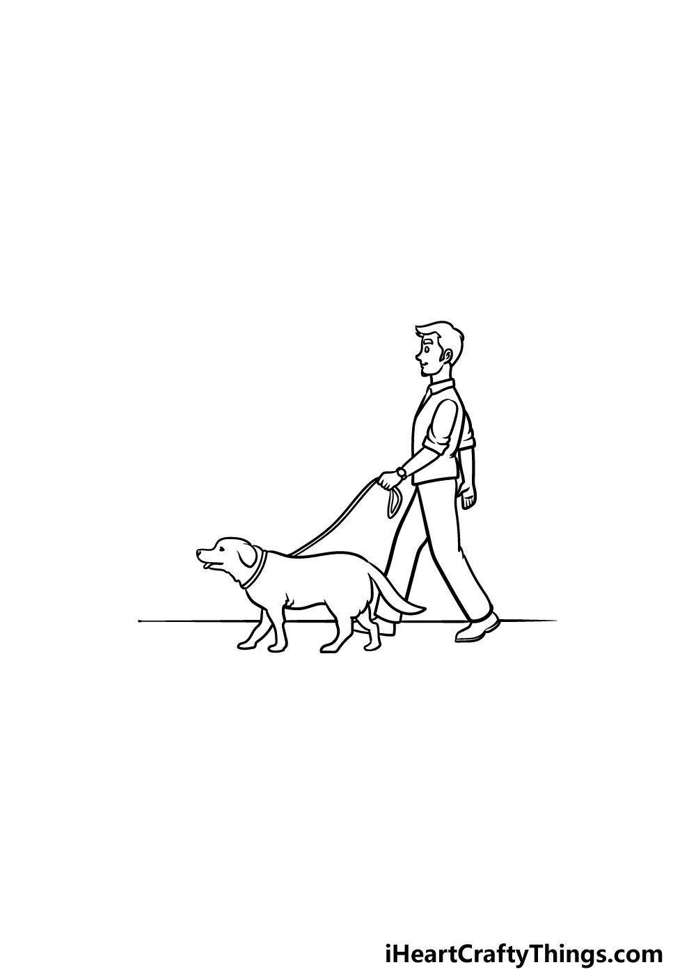 drawing a man with a dog step 5