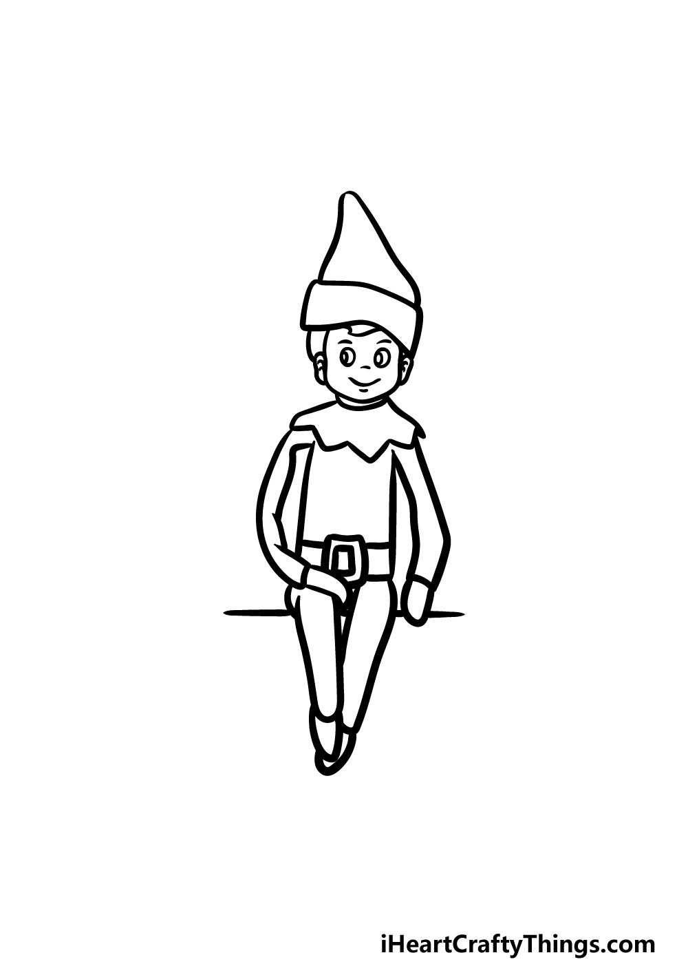 drawing an elf on a shelf step 5
