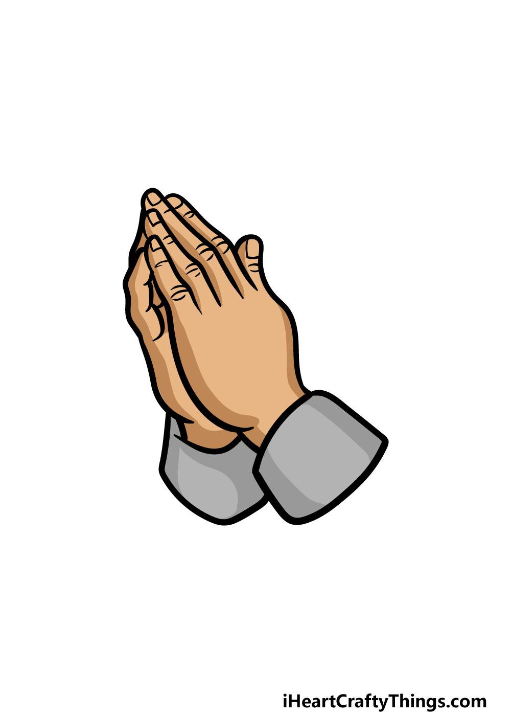 drawing praying hands step 6