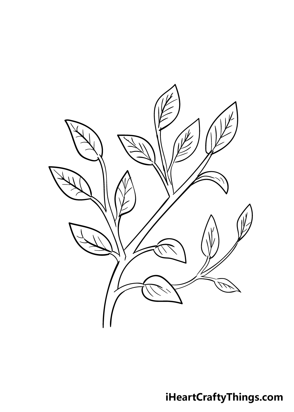 leaves on a tree drawing step 6