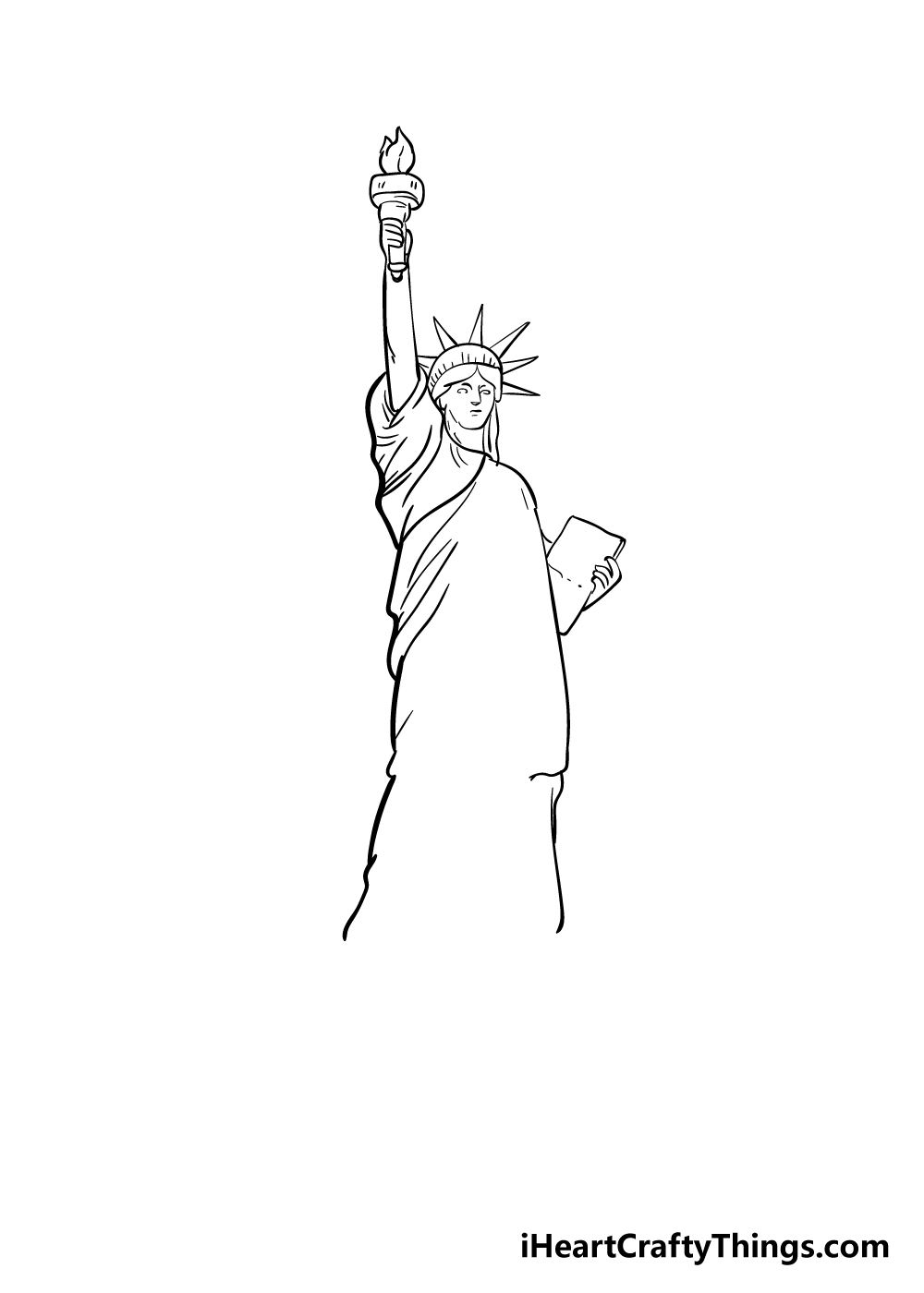 drawing the Statue of Liberty step 6