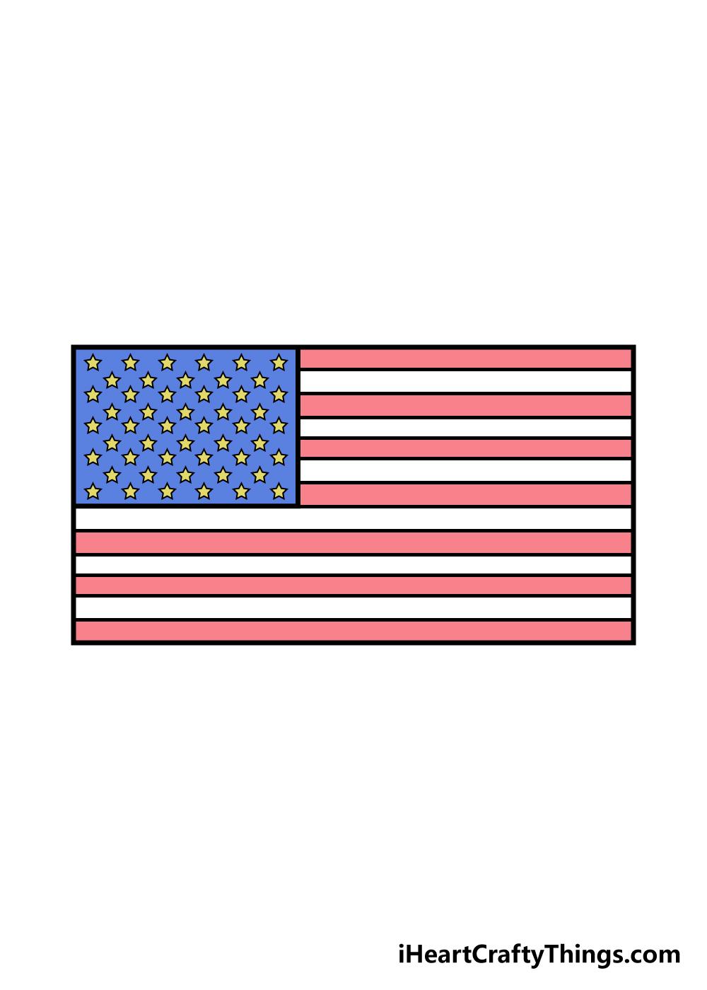 drawing american flag step 6