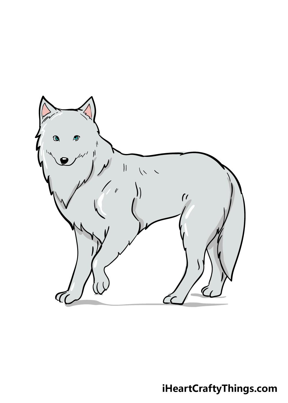 arctic fox drawing step 6