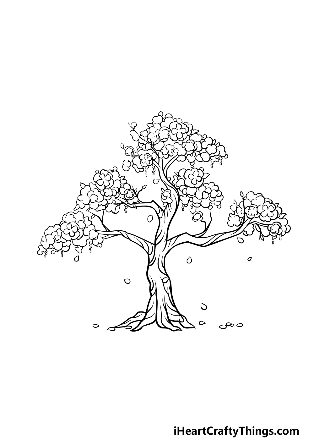 drawing a cherry blossom tree step 6