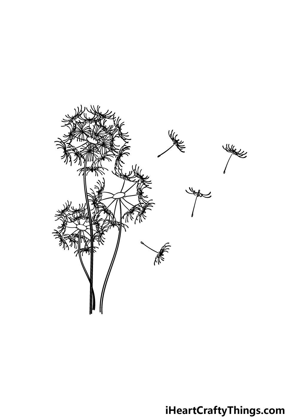 drawing a dandelion step 6
