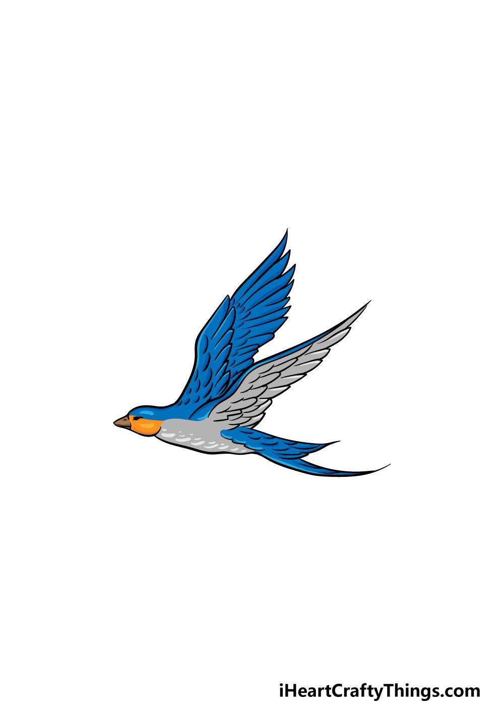 dibujando un pájaro volador paso 6