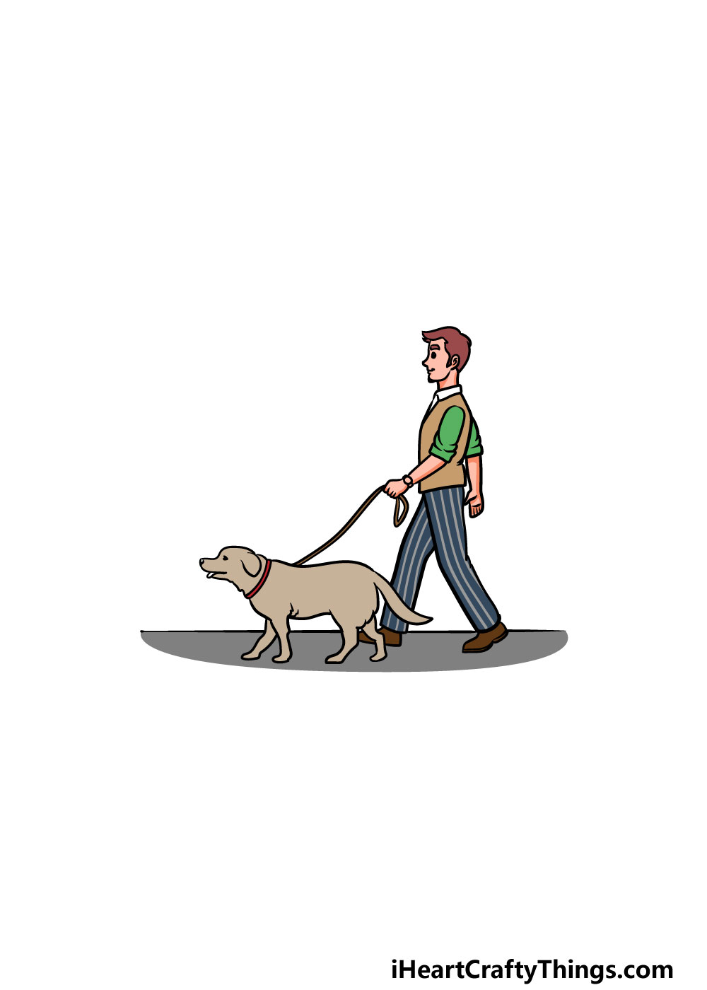 drawing a man with a dog step 6