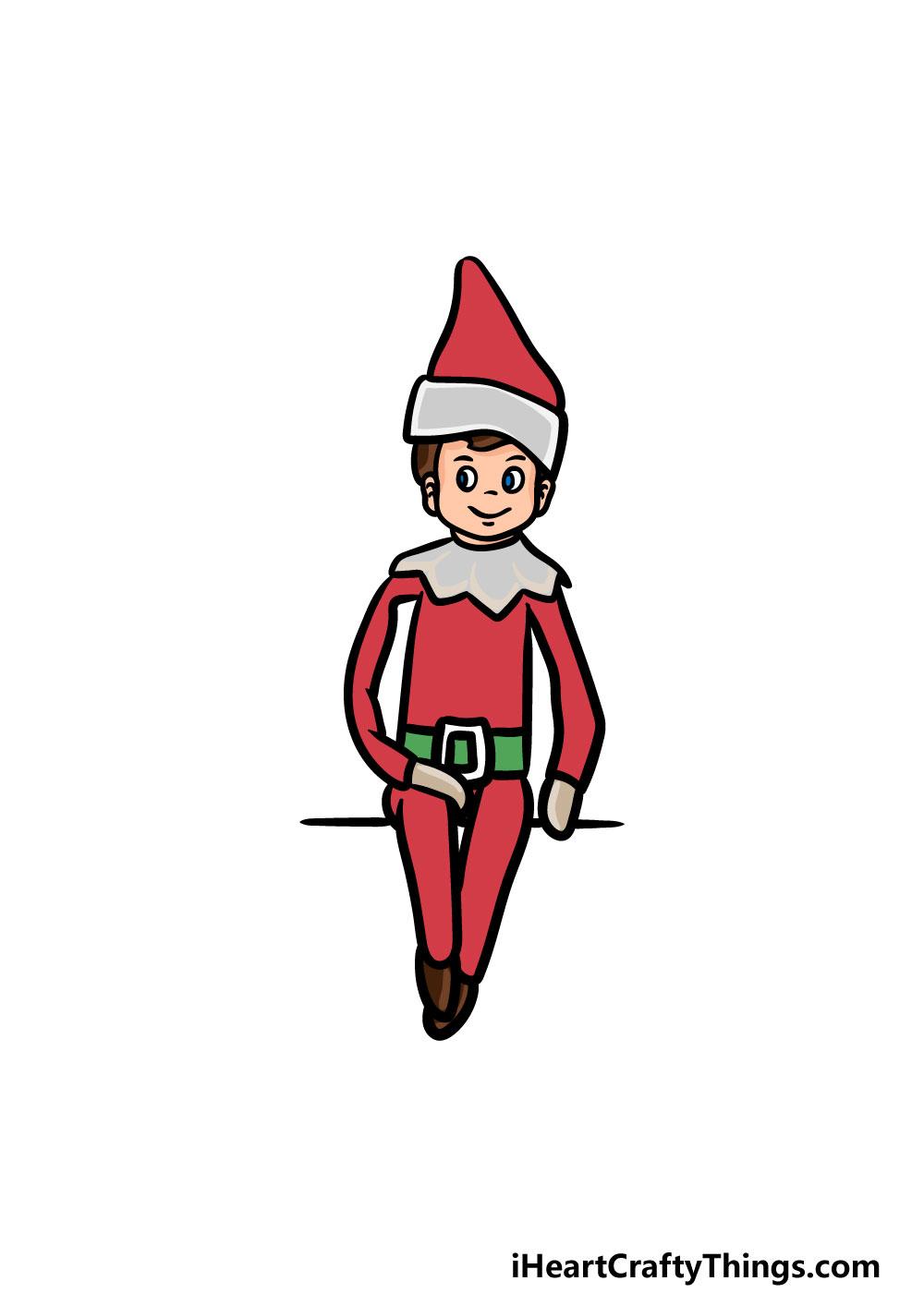 drawing an elf on a shelf step 6