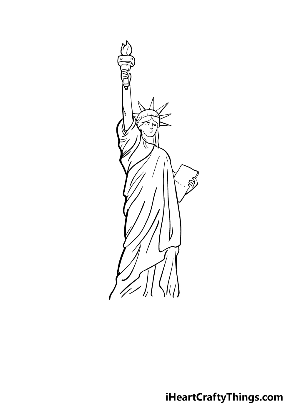 drawing the Statue of Liberty step 7