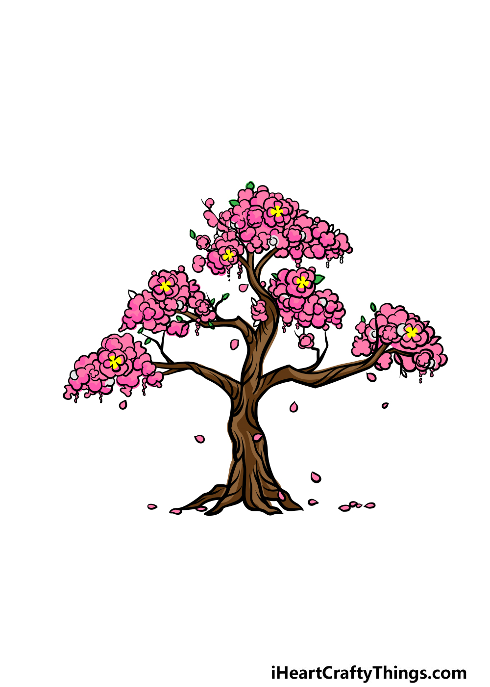 drawing a cherry blossom tree step 7