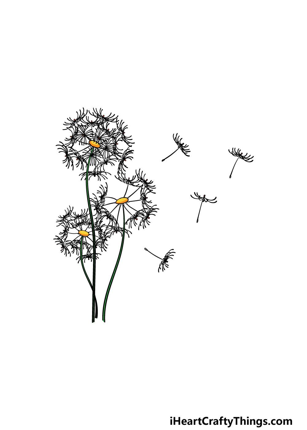drawing a dandelion step 7