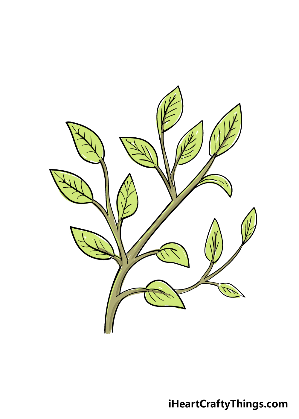 leaves on a tree drawing step 7
