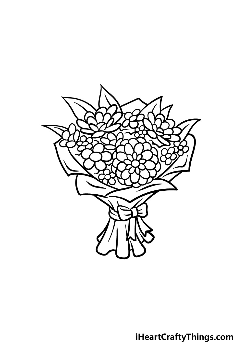 drawing a bouquet of flowers step 8