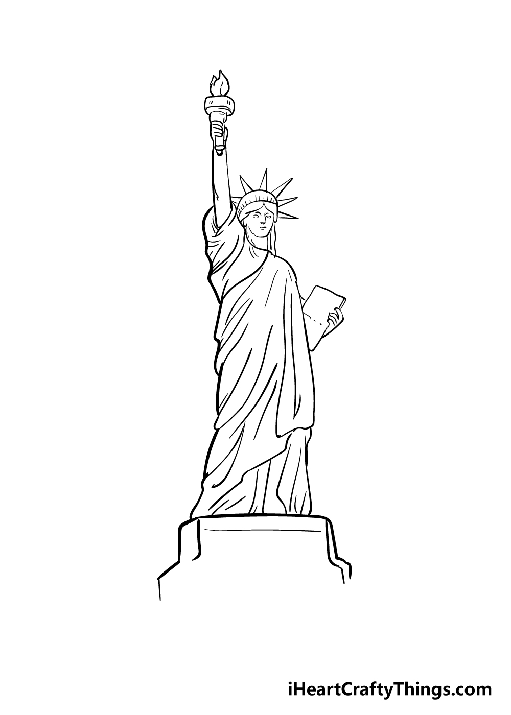 drawing the Statue of Liberty step 8