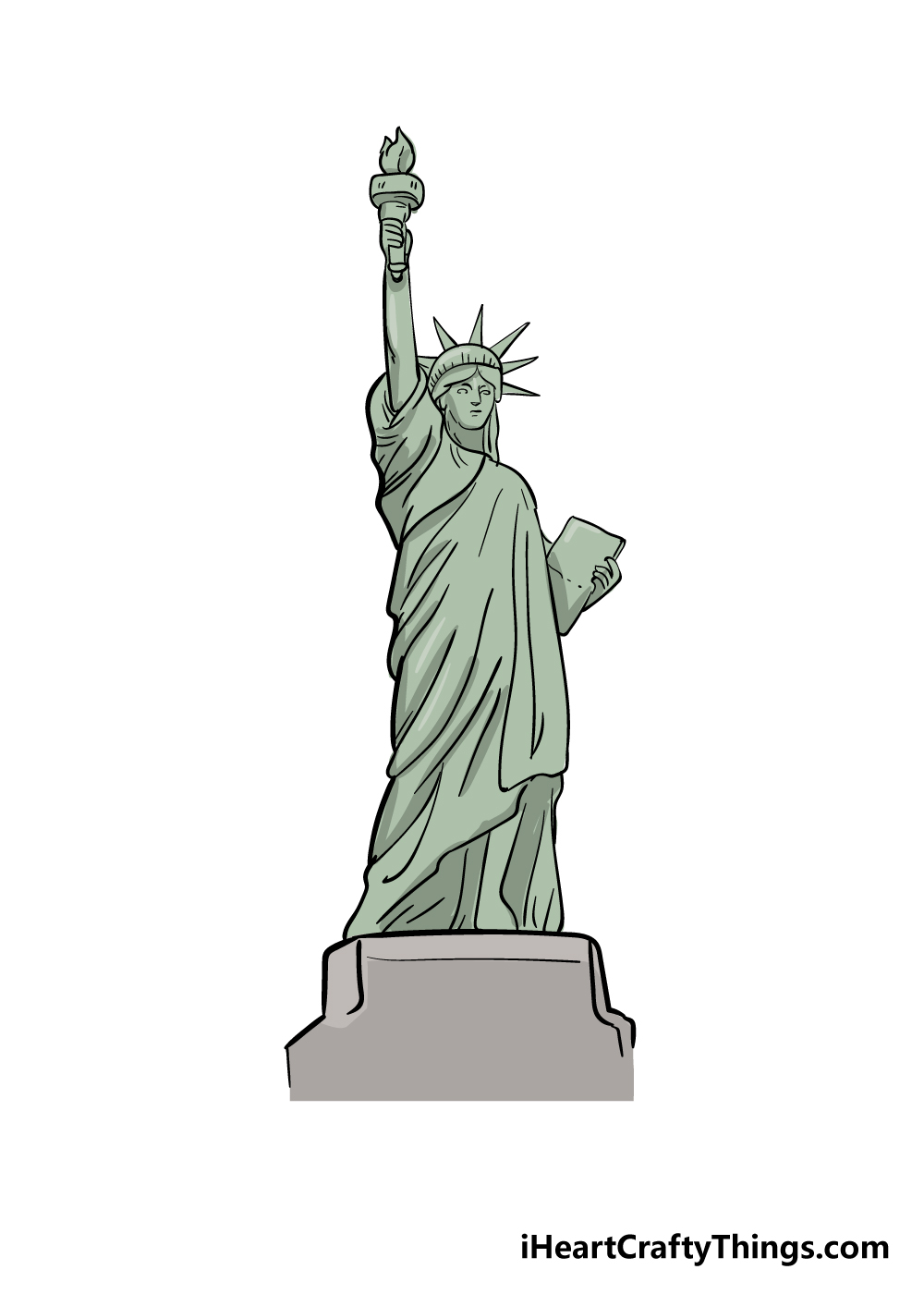 drawing the Statue of Liberty step 9