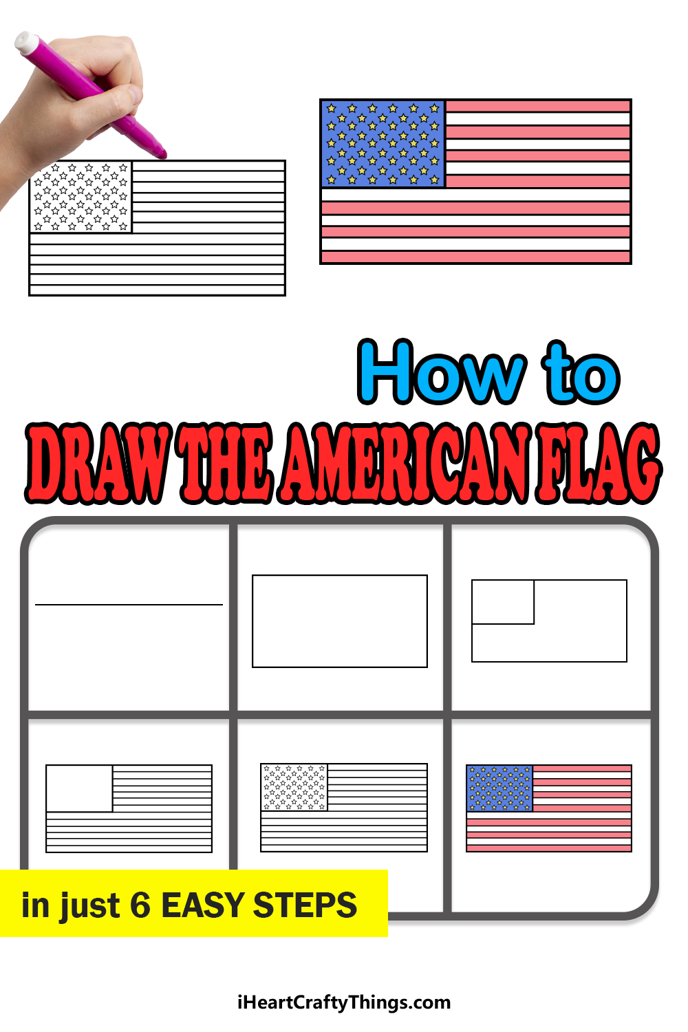 how to draw the american flag in 6 easy steps