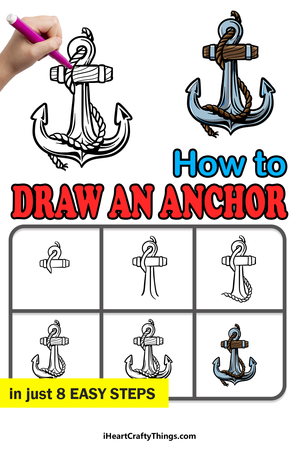 how to draw an anchor in 8 easy steps