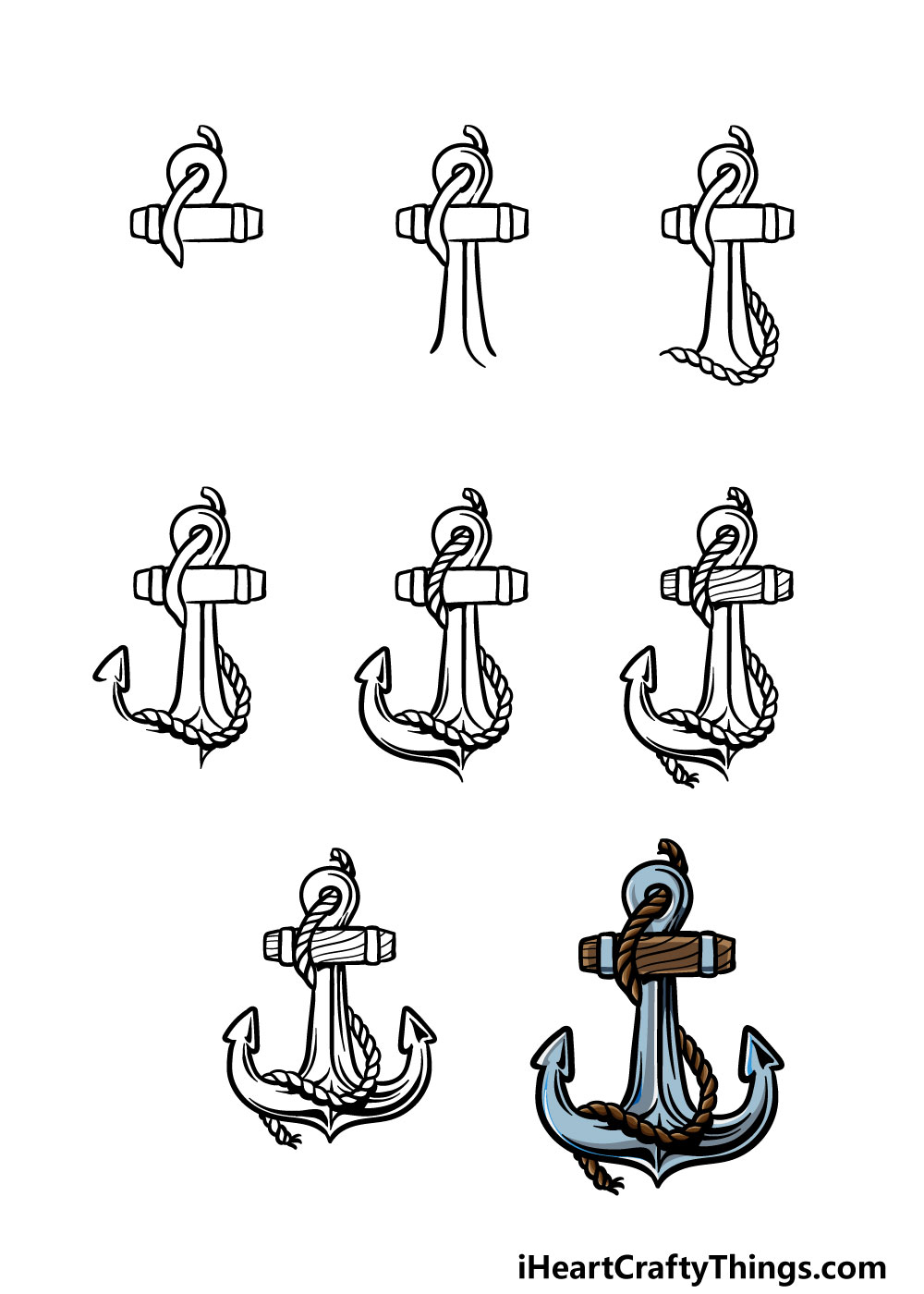 how to draw an anchor in 8 steps
