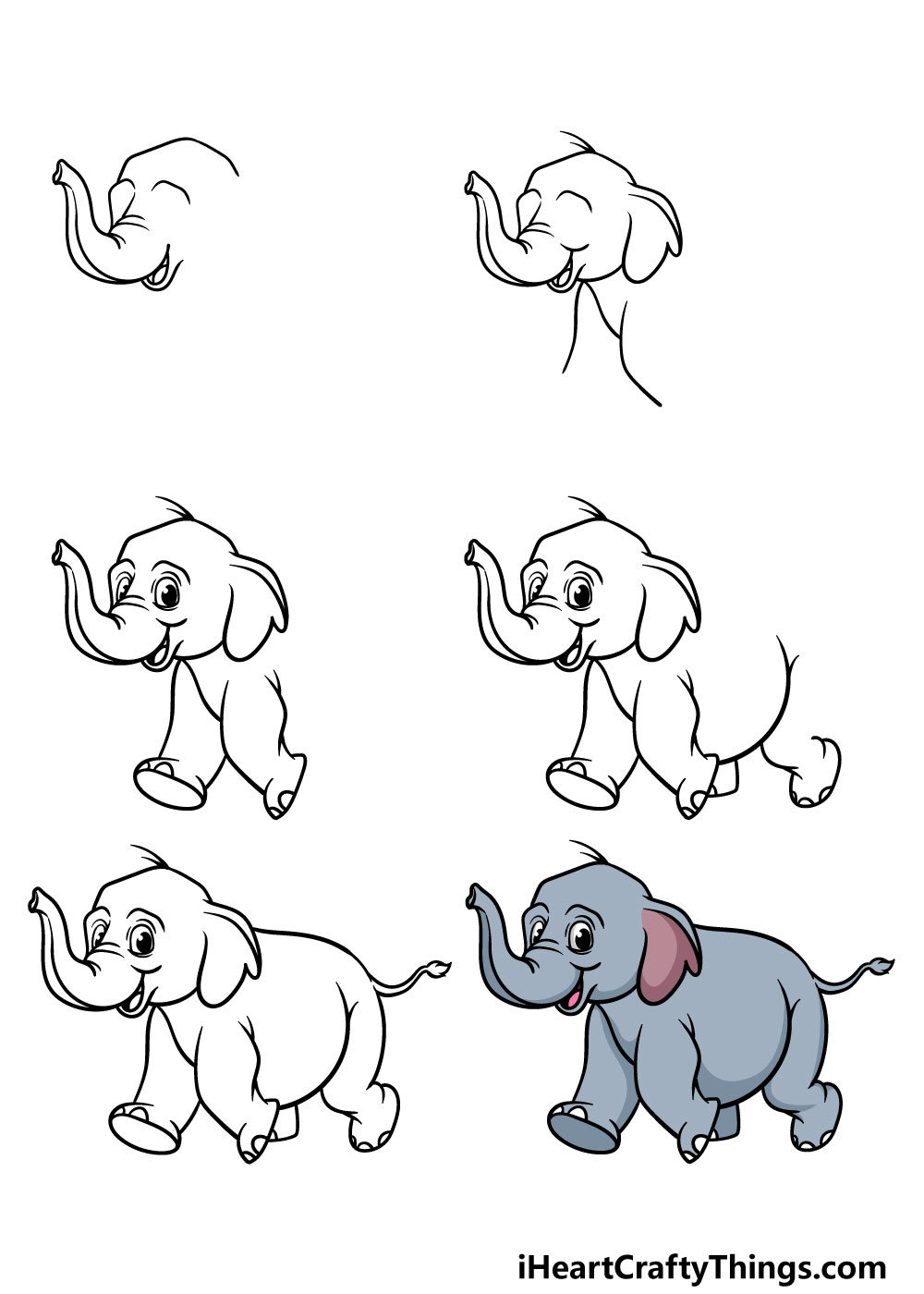 how to draw a baby elephant in 6 steps