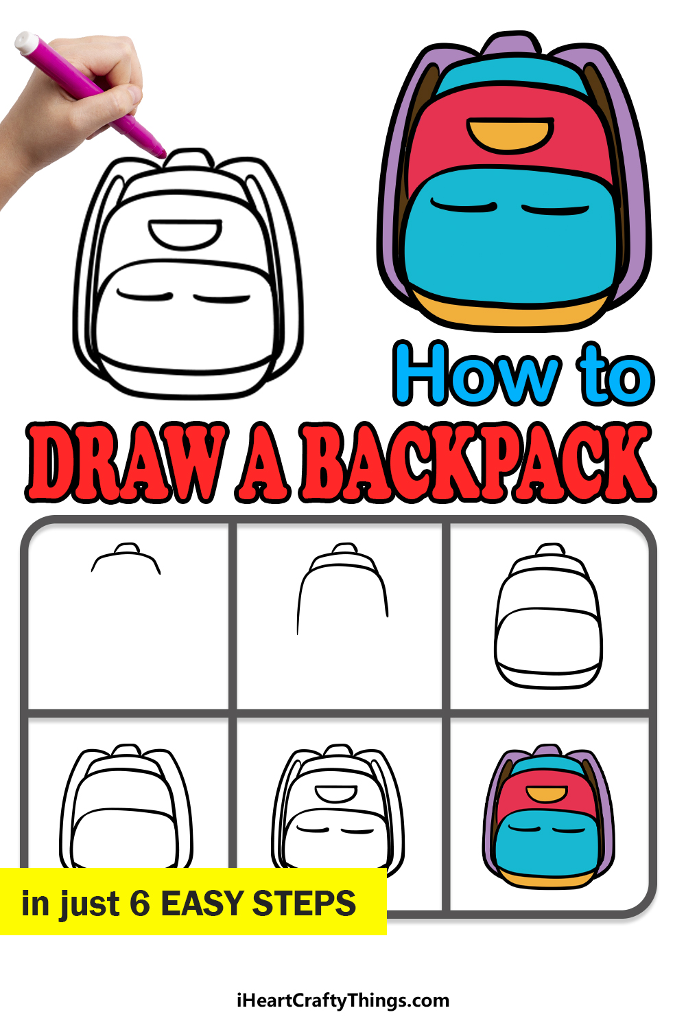 how to draw a backpack in 6 easy steps