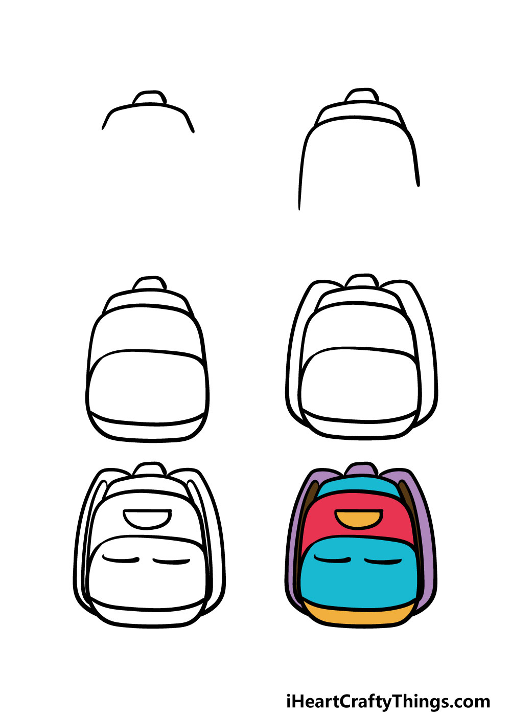 how to draw a backpack in 6 steps