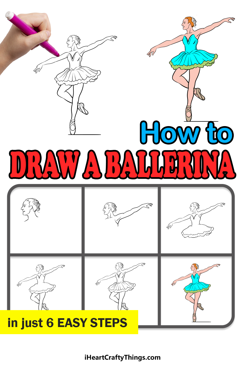 how to draw a ballerina in 6 easy steps