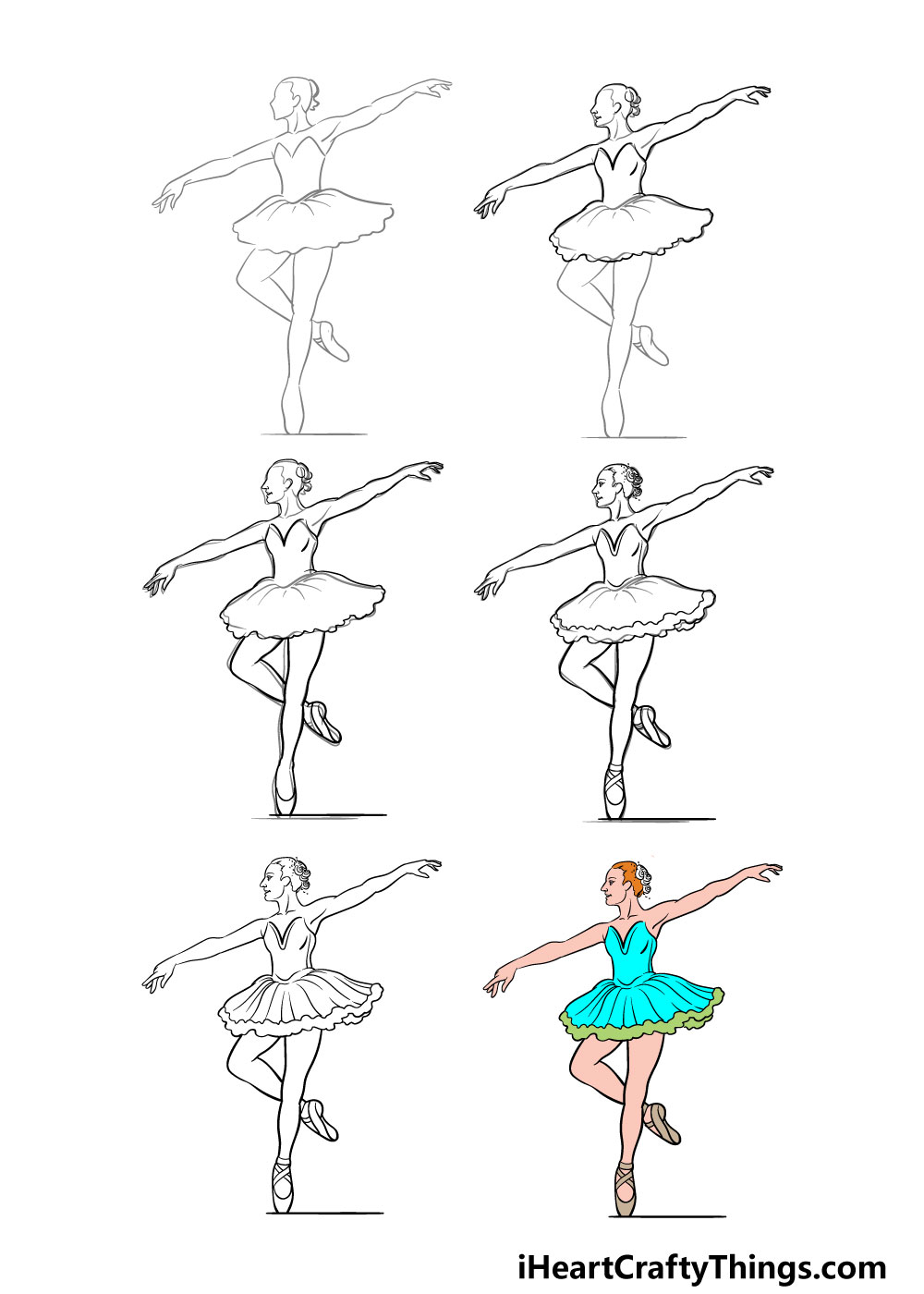 how to draw ballerina in 6 steps