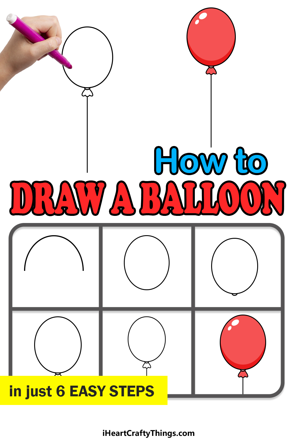 how to draw a balloon in 6 easy steps