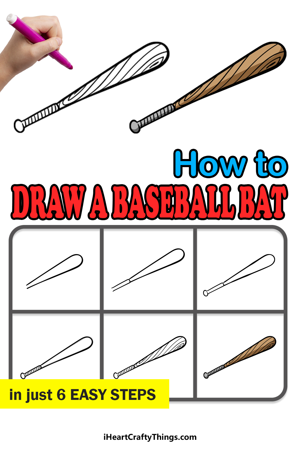 how to draw a baseball bat in 6 easy steps