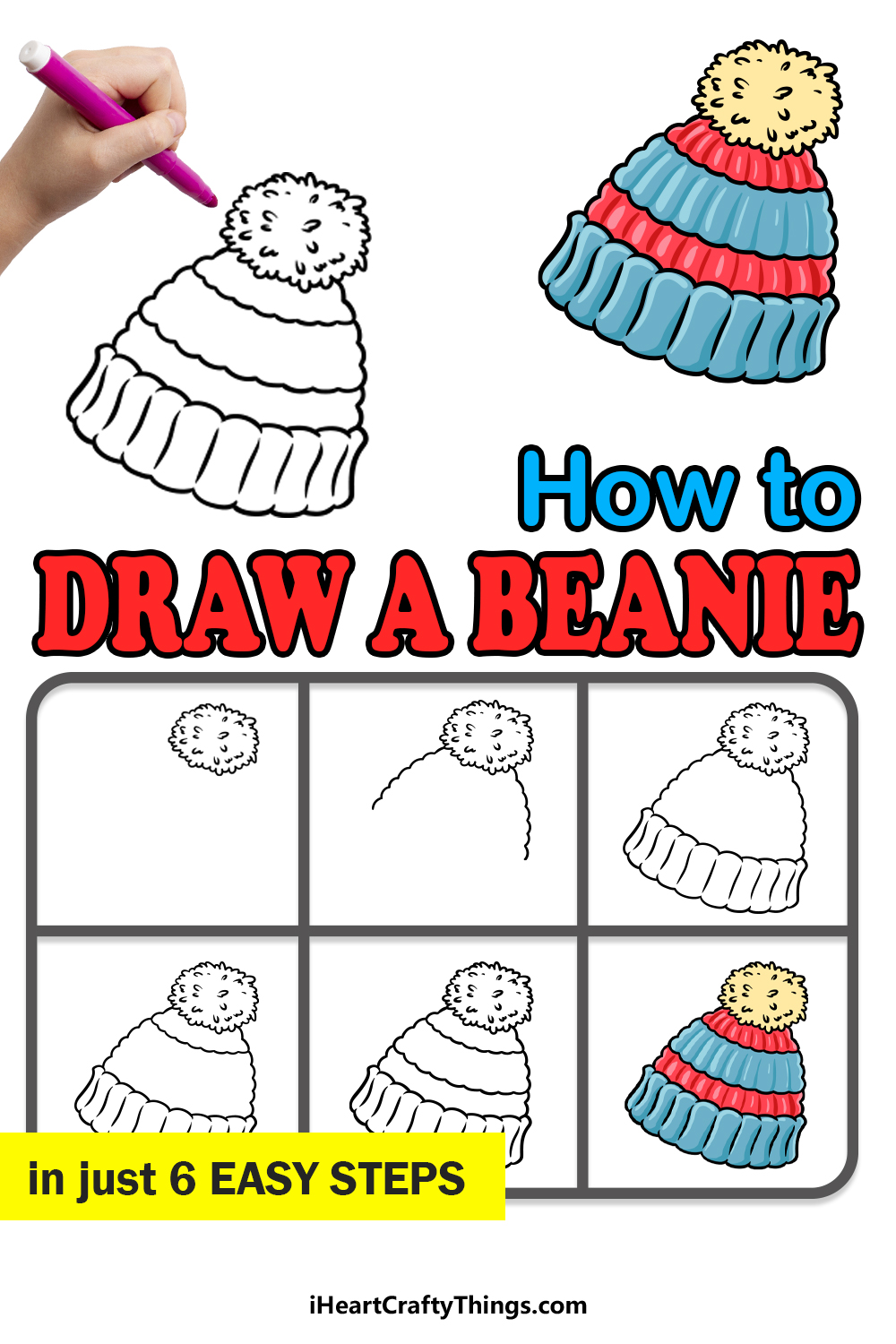 how to draw a beanie in 6 easy steps