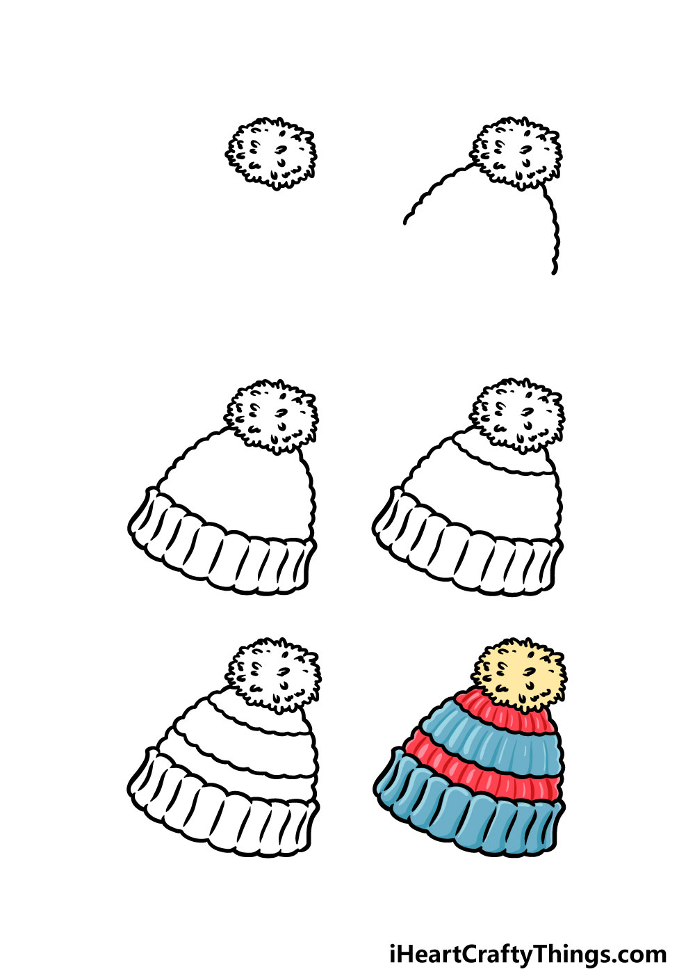 how to draw beanie in 6 steps