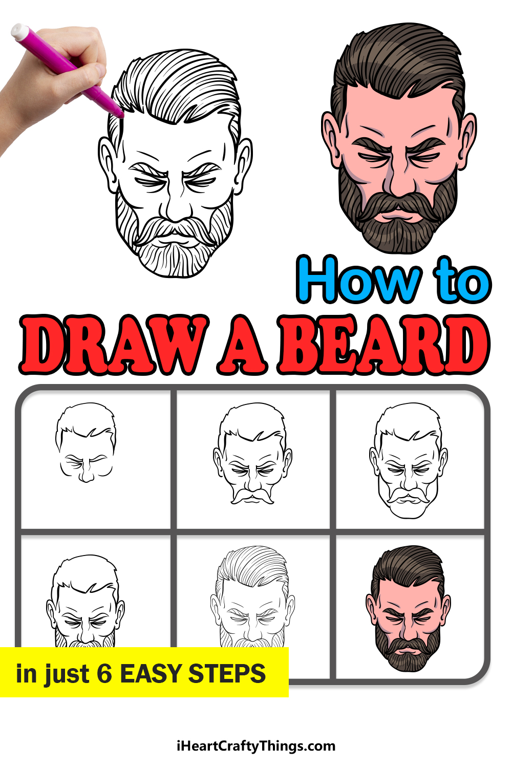 how to draw a beard in 6 easy steps