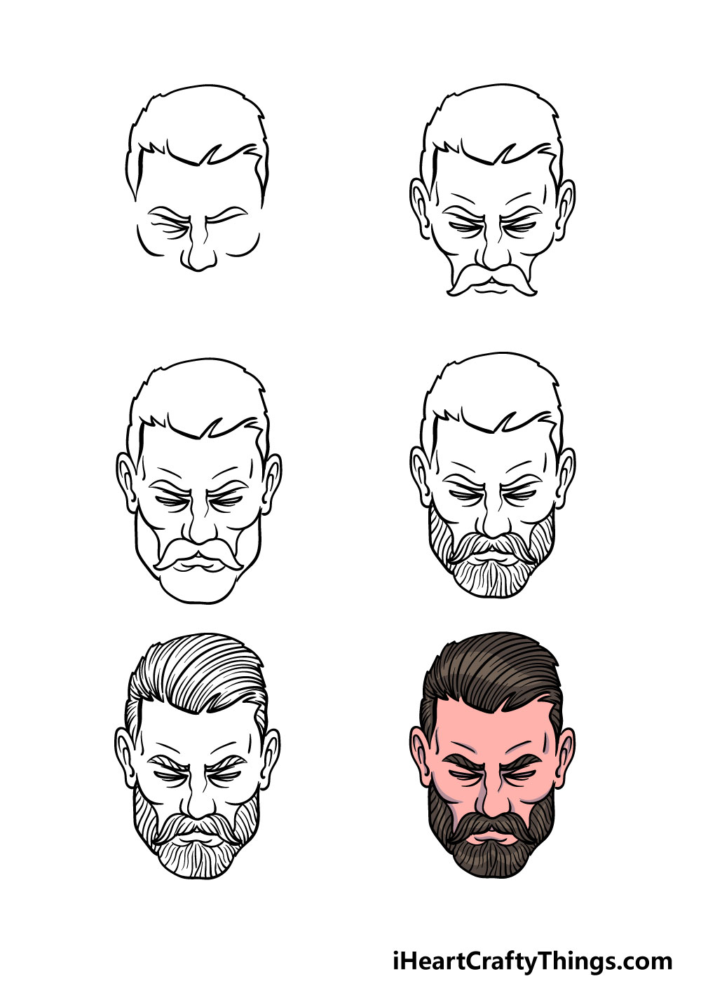 How to Draw A Beard in 6 steps