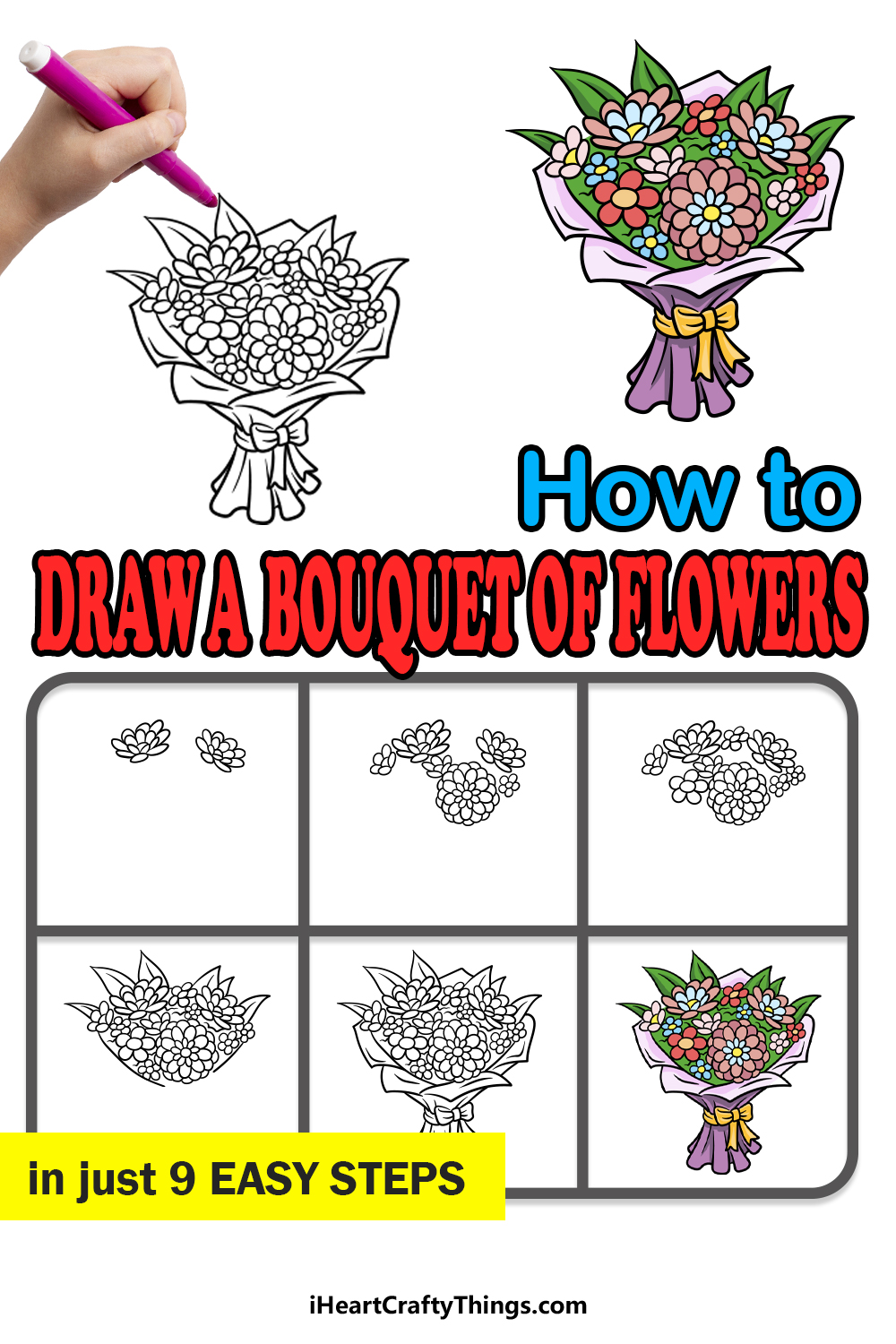 how to draw a bouquet of flowers in 9 easy steps