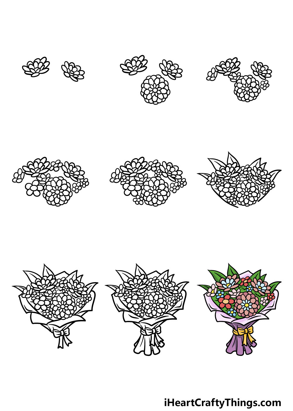 how to draw a bouquet of flowers in 9 steps