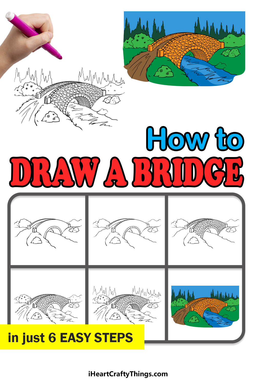 how to draw a bridge in 6 easy steps