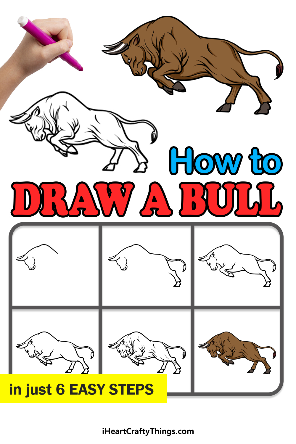 how to draw a bull in 6 easy steps
