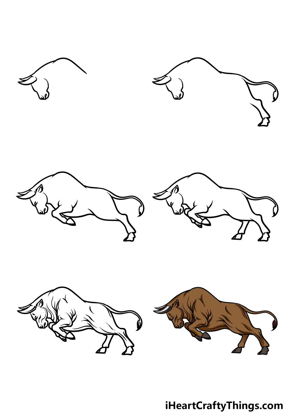 how to draw a bull in 6 steps