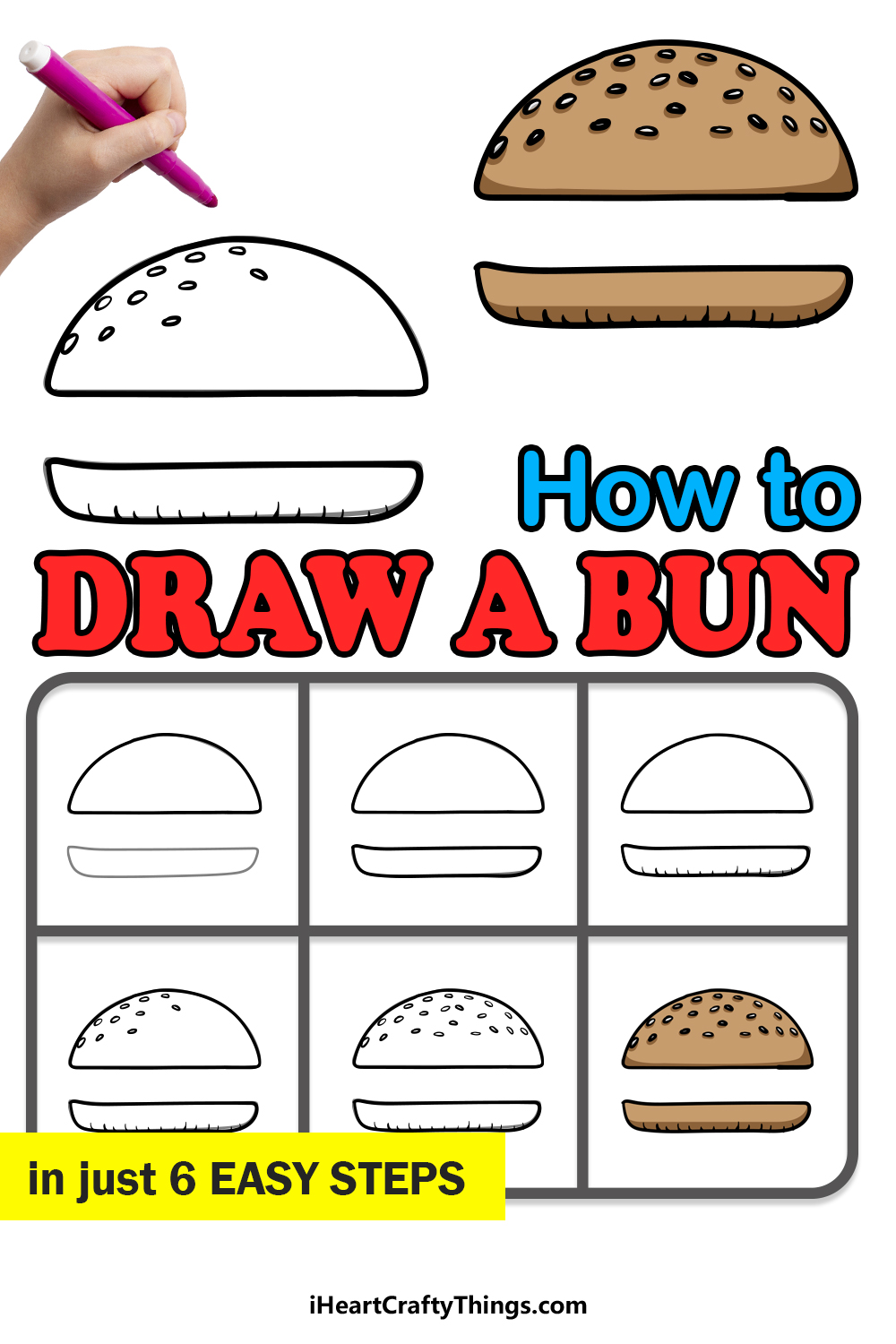 how to draw a bun in 6 easy steps