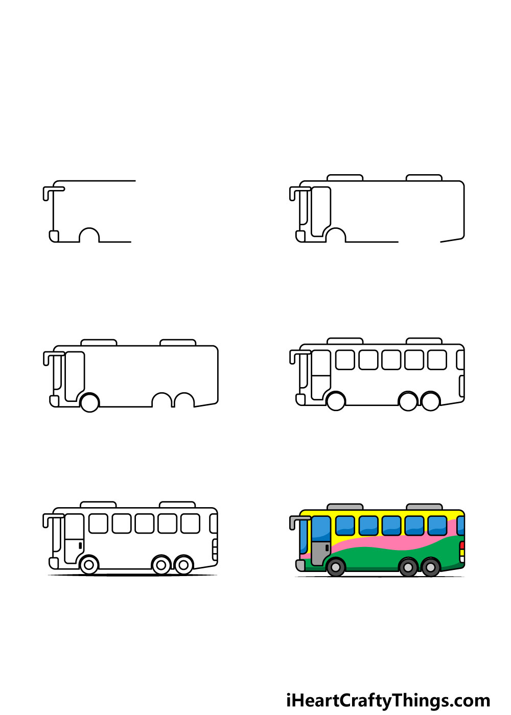 how to draw a bus in 6 steps