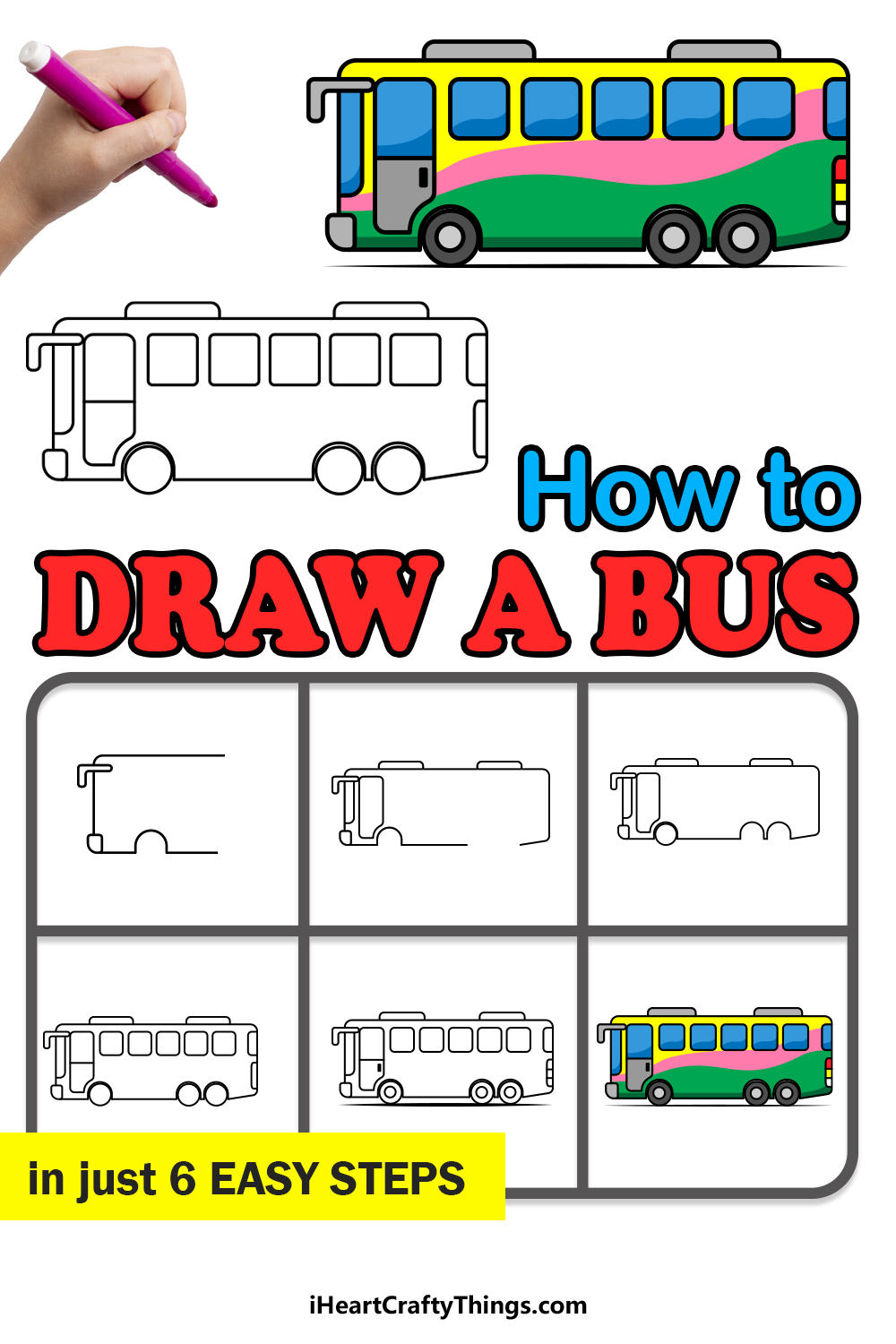 how to draw a bus in 6 easy steps