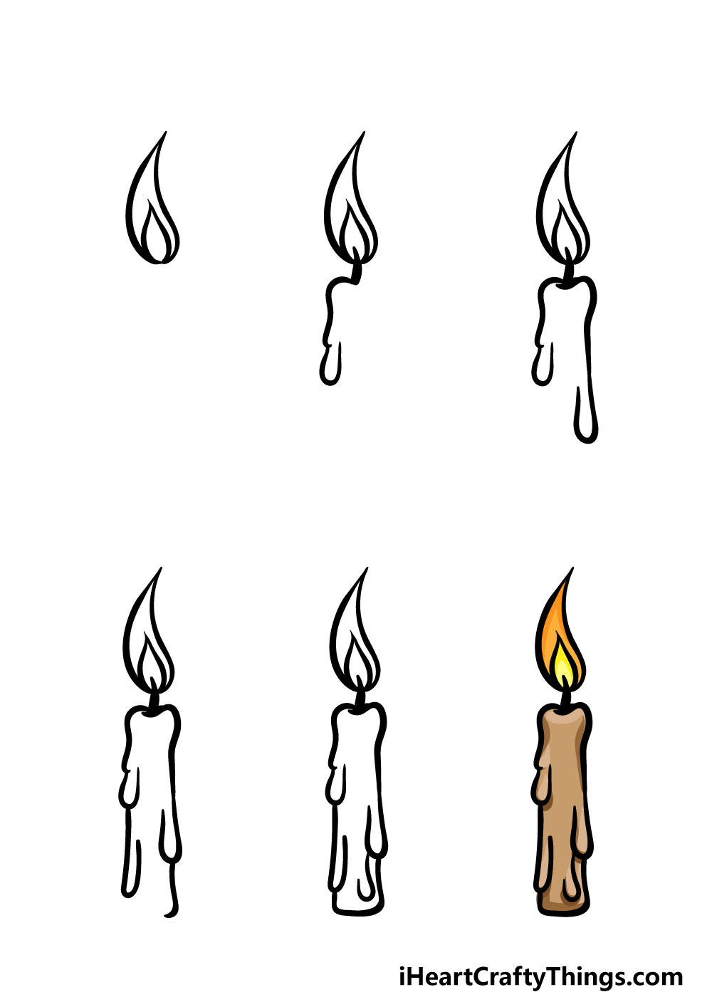 how to draw a candle in 6 steps