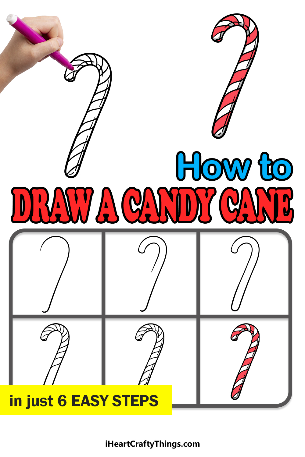 how to draw a candy cane in 6 easy steps