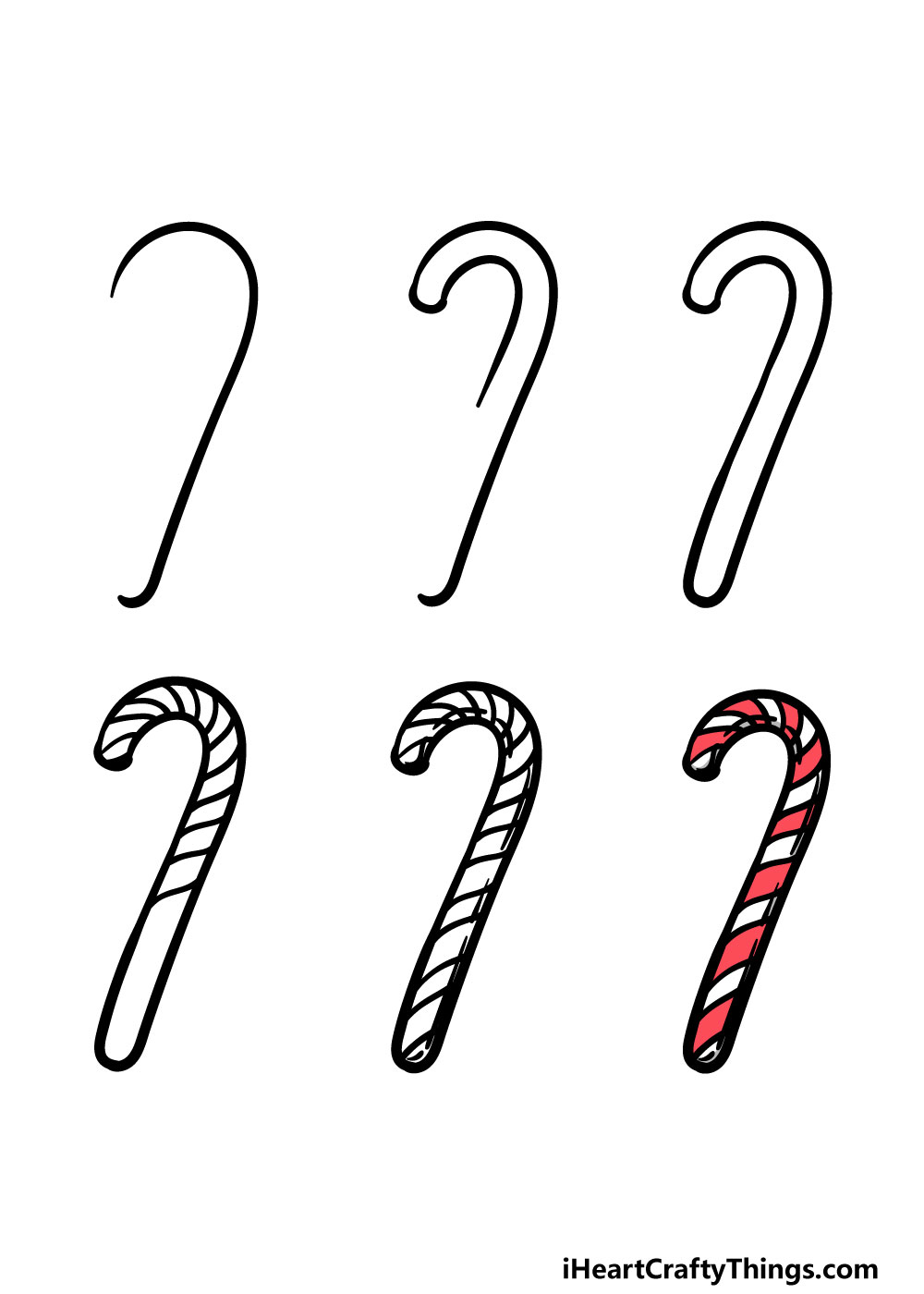 how to draw candy cane in 6 steps