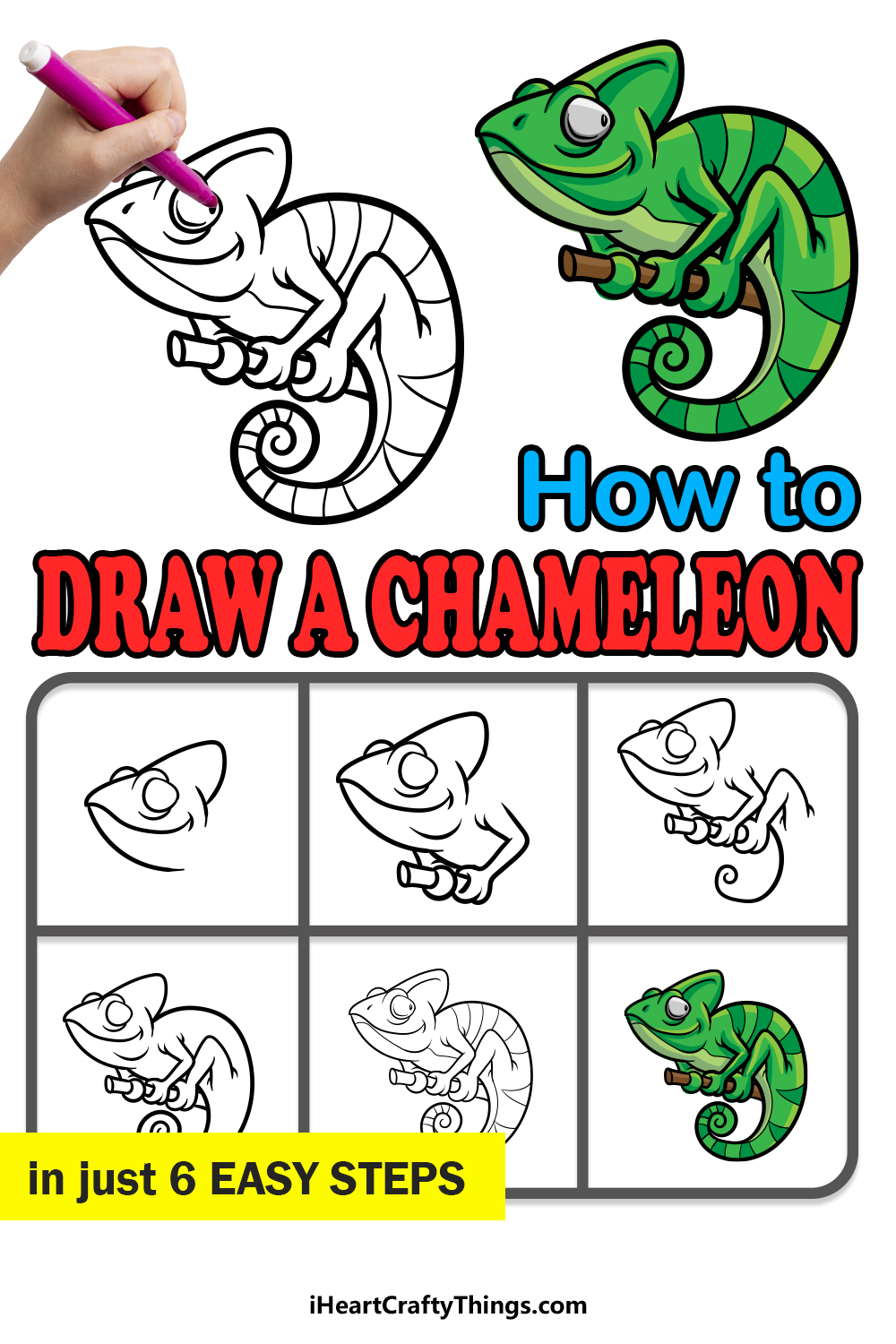 How to draw a chameleon in 6 easy steps