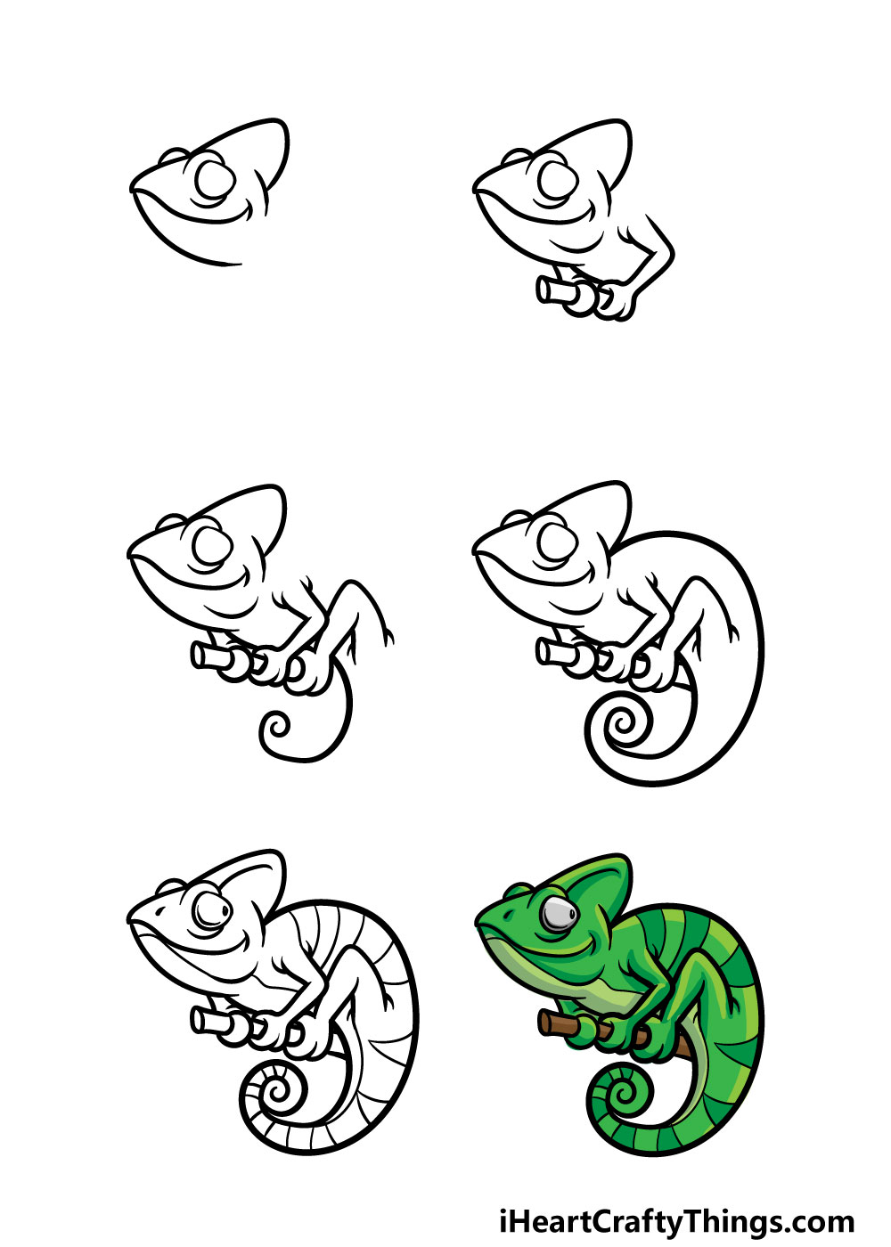 how to draw a chameleon in 6 steps