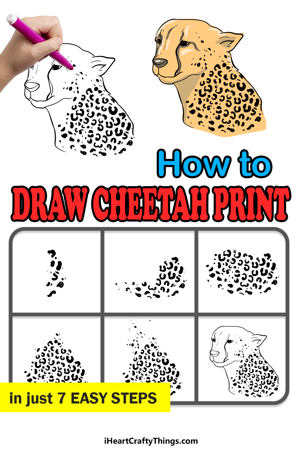 how to draw cheetah print in 7 easy steps